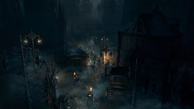 PS4 Bloodborne screenshot featuring people walking down the street carrying torches