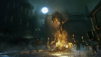 PS4 Bloodborne screenshot featuring people holding torches around a bonfire with a scourge beast tied up in the middle of it