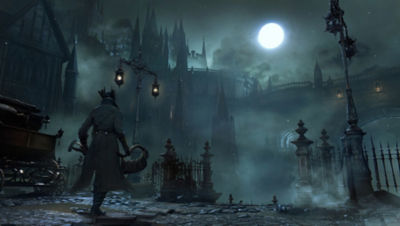 PS4 Bloodborne screenshot featuring the Hunter walking down a moonlit street carrying his weapon