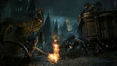 PS4 Bloodborne screenshot featuring the Hunter holding a torch and facing off against a scourge beast in the street