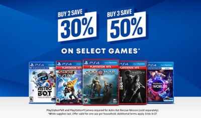 Buy 2 save 30%, Suy 3 save 50% off select games
