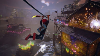 Concrete Genie star Ash uses his magic paintbrush as a handlebar to zipline across  rooftops in the city.
