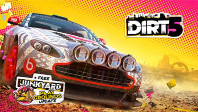 Image of an off-road racer spinning through dirt in the PS5 Dirt 5 racing game