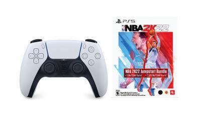 White DualSense wireless PS5 controller next to NBA 2K22 Jumpstart voucher