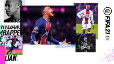 Images of Kylian Mbappe, the Paris Saint-Germain forward featured for the PS5 EA Sport FIFA 21 game