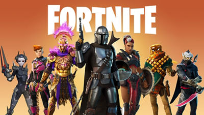 Image of the different characters you can play in Fortnite including the Mandalorian and other favorites