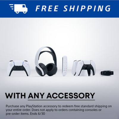 Free shipping with purchase of any PlayStation Accessory featuring PS5 accessories