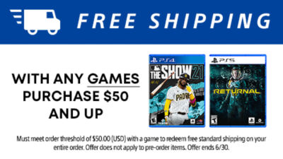 Free standard shipping with any games purchase $50 and up