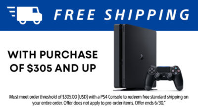 Free standard shipping with purchase of $305 and up for PS4 consoles