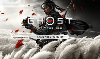 PS4 Ghost of Tsushima. Only on PlayStation. Available 06.26.20. Image of a Samurai standing in a wheat field.