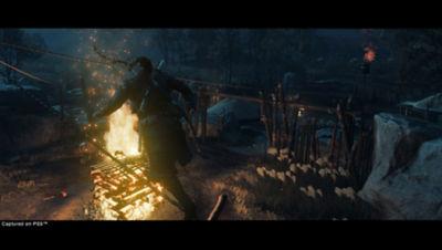 PS5 Ghost of Tsushima Director's Cut screenshot featuring Jin walking across a rope.