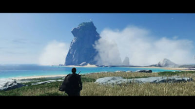 PS5 Ghost of Tsushima Director's Cut Jin looks out towards Iki Island.