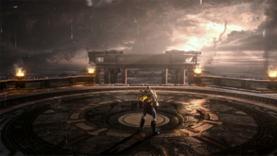 PS4 God of War 3 screenshot featuring Kratos in the rain in Athens