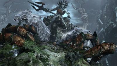 PS4 God of War 3 screenshot featuring Kratos facing Poseidon