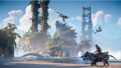 Aloy riding a machine on the beach looking a destroyed golden gate bridge