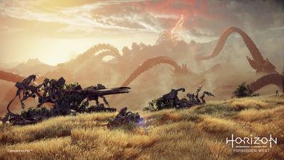 PS4 Horizon Forbidden West image with Aloy riding along the Vista