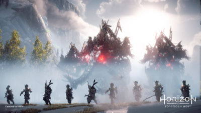 PS5 Horizon Forbidden West image with mammoths