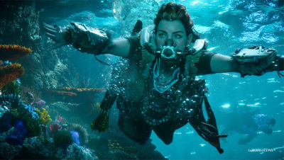 Aloy siwmming underwater with a breathing apparatus on her face