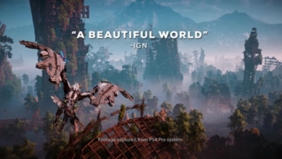 30 second video trailer highlighting Horizon Zero Dawn on PS4 with accolades