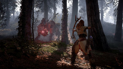 PS4 Horizon Zero Dawn Complete Edition screenshot featuring Aloy in the woods hunting a Stalker
