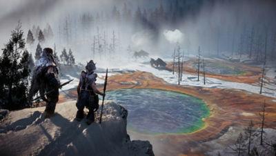 PS4 Horizon Zero Dawn Complete Edition screenshot featuring hunters viewing machine in the frozen wilds