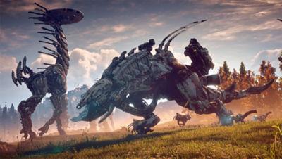 PS4 Horizon Zero Dawn Complete Edition screenshot featuring a Tallneck machine and a Thunderjaw machine grazing through a field