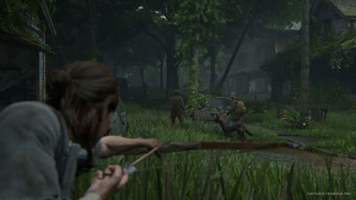 PS4 The Last of Us Part II star Ellie aims her bow and arrow at a group of potentially hostile people