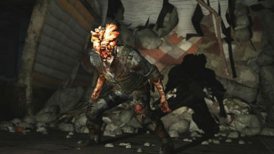 PS4 The Last of Us Remastered screenshot featuring an Infected clicker (zombie type creature) getting ready to attack