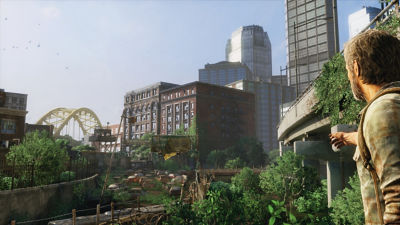 PS4 The Last of Us Remastered screenshot featuring Joel looking at the city and pointing