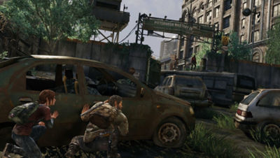 PS4 The Last of Us Remastered screenshot featuring Joel and Ellie hiding behind a car as they approach a Pittsburgh Military Zone