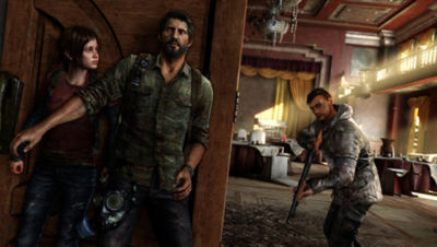 PS4 The Last of Us Remastered screenshot featuring Joel and Ellie hiding around a corner from an enemy