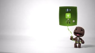 PS4 Little Big Planet 3 screenshot featuring Sackboy holding a ballon type menu screen