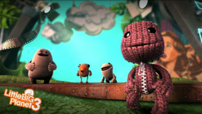 PS4 Little Big Planet 3 screenshot featuring Sackboy with Toggle, Swoop and OddSock