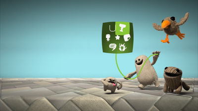PS4 Little Big Planet 3 screenshot with new sack buddies Swoop, Big Toggle, Little Toggle and Swoop