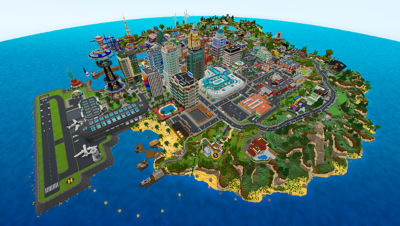 PS4 Minecraft Starter Collection screenshot featuring a view from the sky looking down at the city with buildings, trees, airport and roads.