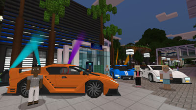 PS4 Minecraft Starter Collection screenshot featuring players outside a club in front of different color sports cars