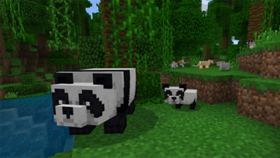 PS4 Minecraft Starter Collection screenshot featuring a mom and a baby panda walking around the forest near the water