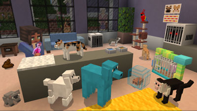 PS4 Minecraft Starter Collection screenshot featuring a player inside a pet shop with dogs, cats, pig, monkey and birds.