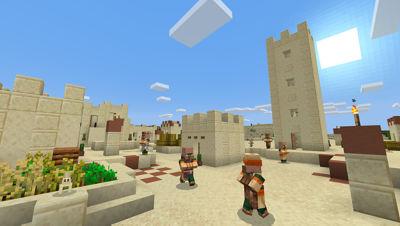 PS4 Minecraft Starter Collection screenshot featuring players walking around beige castles
