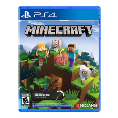 PS4 Minecraft box art featuring Steve walking with sheep, pigs and other characters on top of a blocks