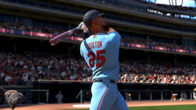 PS5 MLB The Show 21 screenshot of Byron Buxton swinging at a ball