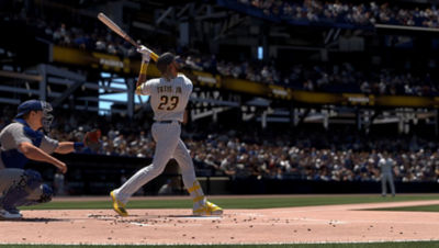 PS5 MLB The Show 21 screenshot of Tatis Jr. swinging at the ball