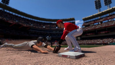 PS5 MLB The Show 21 screenshot of Red player trying to tag out a Pirates player