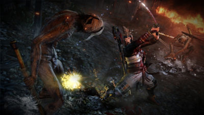 PS4 Nioh screenshot featuring William swinging his sword at a dweller