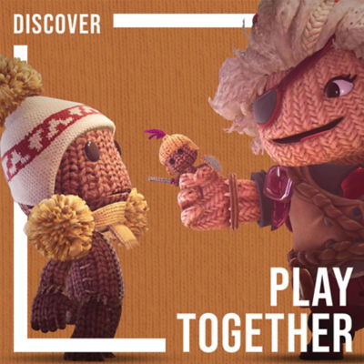 Play together. Older Sackboy character lending a helping hand to a younger Sackboy