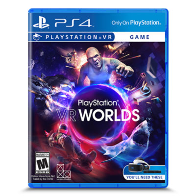 PSVR VR Worlds box art featuring images of a shark, London ganger, motorcycle spaceship and more