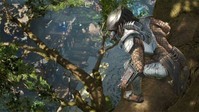 Predator Hunting Grounds screenshot featuring the Predator in a tree hunting the soldiers