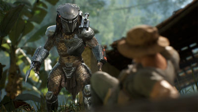 PS4 Predator Hunting Grounds screenshot featuring the Predator facing off a soldier on the ground