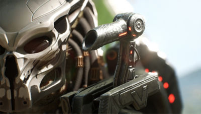 Predator Hunting Grounds screenshot featuring a close up of the Predator mask with laser