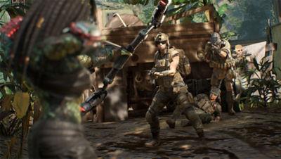 Predator Hunting Grounds screenshot featuring the Predator facing soldiers